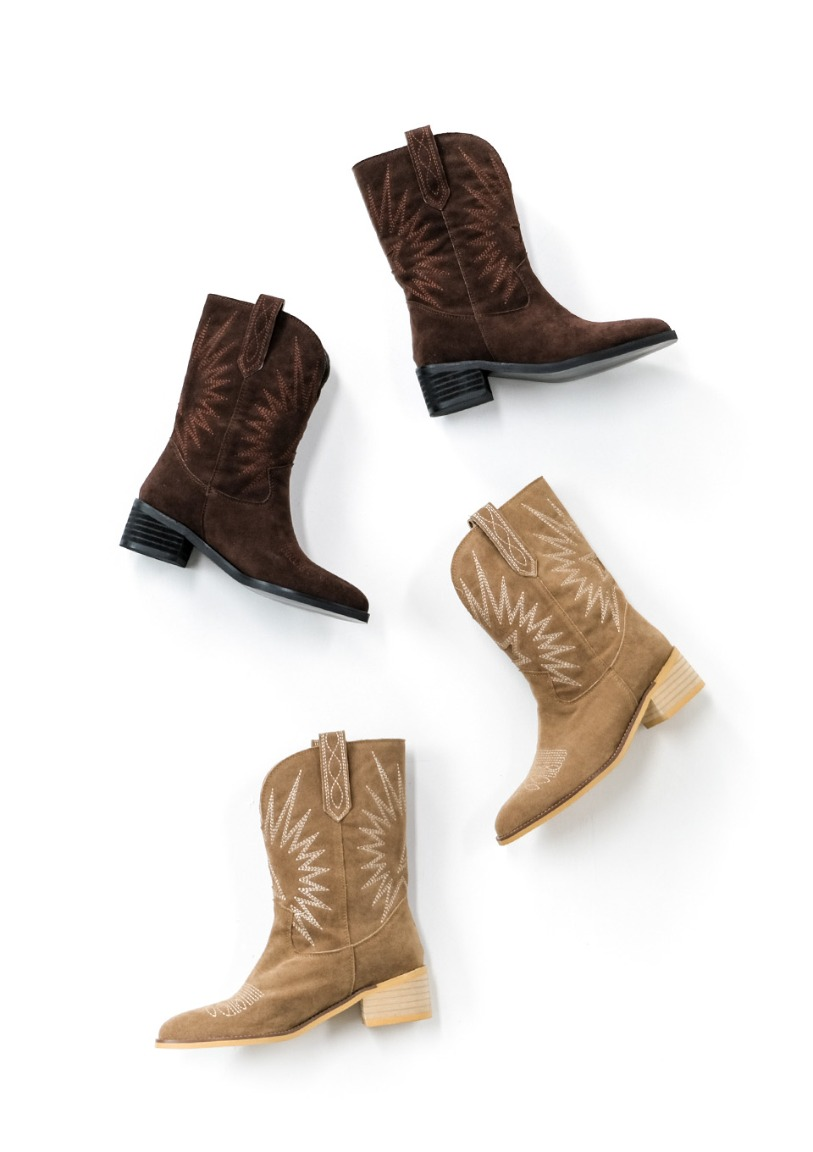 western stitched suede boots [2 colors]